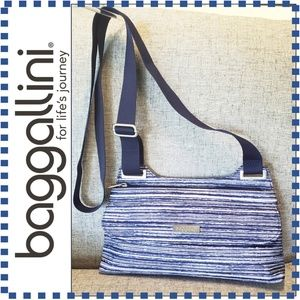 Baggallini Navy & White Stripe Small Crossbody Bag